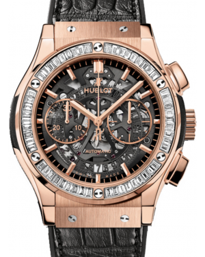Hublot Classic Fusion Aerofusion 525.OX.0180.LR.1904 Skeleton Index Diamond Bezel & Rose Gold Case Leather 45mm BRAND NEW