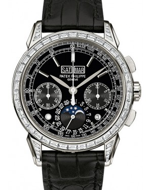Patek Philippe 5271P-001 Grand Complications Perpetual Calendar Moon Phase Chronograph 41mm Black Index Platinum Leather Manual BRAND NEW