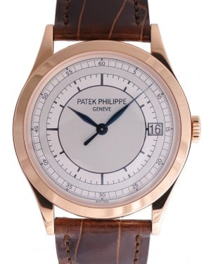 Patek Philippe 5296R-001 Calatrava 38mm Silver Date Rose Gold Leather BRAND NEW