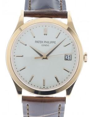 Patek Philippe 5296R-010 Calatrava 38mm White Opaline Index Date Rose Gold Leather BRAND NEW