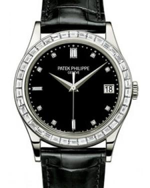 Patek Philippe 5298P-012 Calatrava 38mm Black Baguette Diamond Bezel Date Platinum Leather BRAND NEW