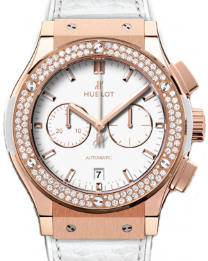 Hublot Classic Fusion Chronograph 541.OE.2080.LR.1104 White Index Diamond Bezel & Rose Gold Case Leather 45mm BRAND NEW