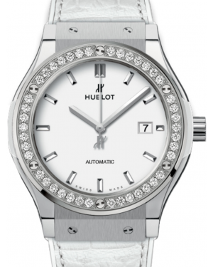 Hublot Classic Fusion 542.NE.2010.LR.1204 White Index Diamond Bezel & Titanium Case Leather 42mm BRAND NEW