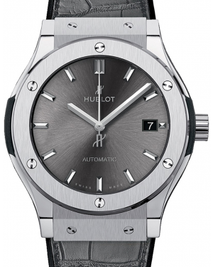 Hublot Classic Fusion 542.NX.7071.LR Grey Index Titanium & Leather 42mm BRAND NEW