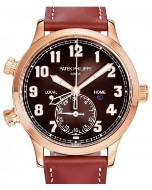 Patek Philippe Complications Calatrava Pilot Travel Time Rose Gold 42mm Brown Dial 5524R-001 - BRAND NEW
