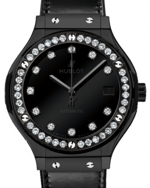 Hublot Classic Fusion Shiny 565.CX.1210.VR.1204 Black Dial Diamond Bezel Black Ceramic & Leather 38mm BRAND NEW