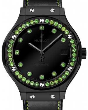 Hublot Classic Fusion Shiny 565.CX.1210.VR.1222 Black Dial Green Tsavorite Bezel Black Ceramic & Leather 38mm BRAND NEW