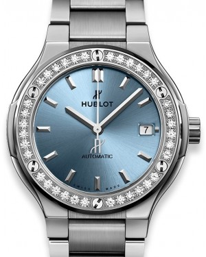 Hublot Classic Fusion Titanium Light Blue Bracelet 568.NX.891L.NX.1204 Blue Index Diamond Bezel Titanium  38mm - BRAND NEW