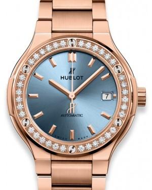 Hublot Classic Fusion King Gold Light Blue Bracelet 568.OX.891L.OX.1204 Blue Index Diamond Bezel King Gold 38mm - BRAND NEW