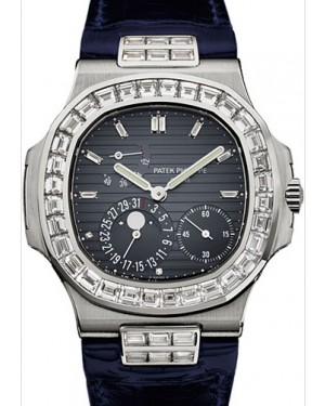 Patek Philippe 5724G-001 Nautilus 40mm Black-Blue Baguette Diamond Bezel Moon Phase Date White Gold Leather Automatic BRAND NEW