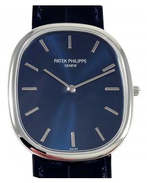 Patek Philippe 5738P-001 Golden Ellipse 34.5 × 39.5mm Blue Sunburst Index Platinum Leather Manual - BRAND NEW