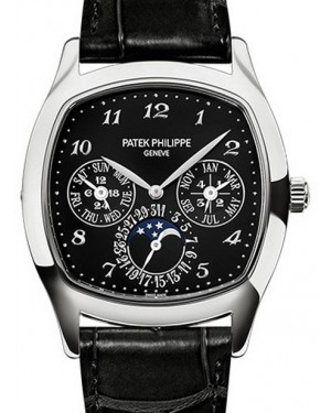 Patek Philippe Grand Complications Perpetual Calendar Day-Date Moon Phase Black Arabic White Gold Leather 37×44.6mm 5940G-010  - BRAND NEW