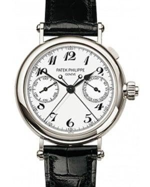 Patek Philippe 5959P-001 Grand Complications Chronograph 33mm White Arabic Platinum Leather Manual BRAND NEW