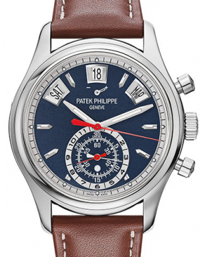 Patek Philippe Complications Blue Index Dial White Gold Bezel Brown Leather Strap 40.5mm 5960/01G-001 - BRAND NEW