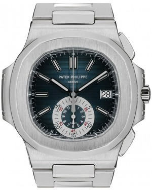Patek Philippe Nautilus 5980/1A-001 Blue Index Stainless Steel Chronograph 40.5mm