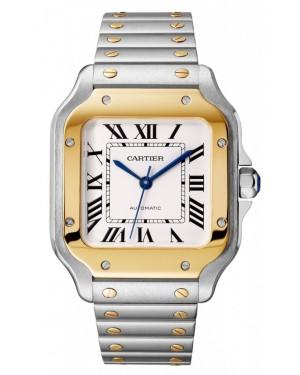 Cartier Santos Silver Dial Yellow Gold Bezel Steel Bracelet 35.1mm W2SA0007 - BRAND NEW
