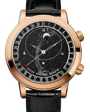 Patek Philippe 6102R-001 Grand Complications Date Chronograph 44mm Black Sky Chart Rose Gold Leather Automatic BRAND NEW
