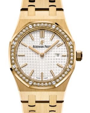 Audemars Piguet 67651BA.ZZ.1261BA.01 Royal Oak Quartz Ladies 33mm Silver Index Yellow Gold - BRAND NEW