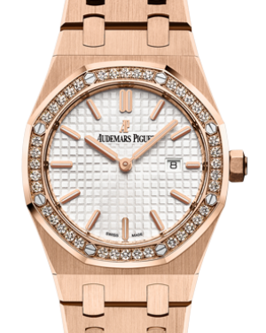 Audemars Piguet 67651OR.ZZ.1261OR.01 Royal Oak Quartz Ladies 33mm Silver Index Diamond Bezel Rose Gold - BRAND NEW