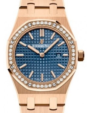 Audemars Piguet Royal Oak Quartz 67651OR.ZZ.1261OR.02 Blue Index Diamond Bezel Rose Gold 33mm - BRAND NEW