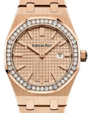 Audemars Piguet Royal Oak Quartz 67651OR.ZZ.1261OR.03 Pink Index Diamond Bezel Rose Gold 33mm - BRAND NEW