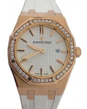 Audemars Piguet 67651OR.ZZ.D010CA.01 Royal Oak Quartz Ladies 33mm Silver Index Diamond Bezel Rose Gold White Rubber - BRAND NEW