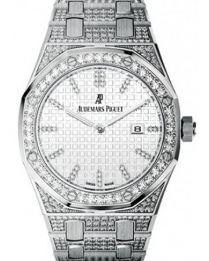 Audemars Piguet 67652BC.ZZ.1262BC.01 Royal Oak Quartz Ladies 33mm Silver Diamond Index White Gold Diamond Set - BRAND NEW