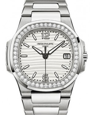 Patek Philippe 7010/1G-011 Nautilus Ladies 32mm Silver Arabic Index Diamond Bezel White Gold Quartz BRAND NEW