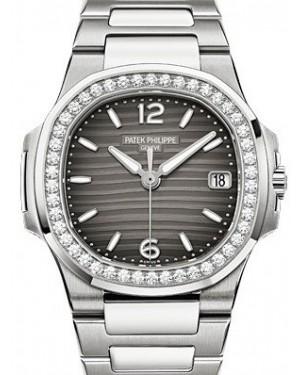 Patek Philippe 7010/1G-012 Nautilus Ladies 32mm Slate Arabic Index Diamond Bezel White Gold Quartz BRAND NEW