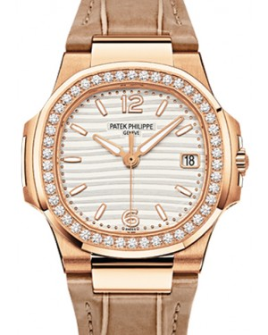 Patek Philippe Nautilus Ladies Quartz Rose Gold 32mm Silver Arabic Index Diamond Bezel Brown Leather 7010R - BRAND NEW