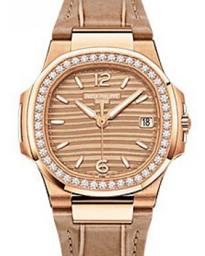 Patek Philippe Nautilus Ladies Quartz Rose Gold 32mm Golden Arabic Index Diamond Bezel Brown Leather Quartz 7010R - BRAND NEW