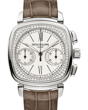 Patek Philippe 7071G-001 Complications Ladies Chronograph 35 × 39mm Silver Opaline Roman White Gold Diamond Set Leather Manual - BRAND NEW
