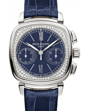Patek Philippe 7071G-011 Complications Ladies Chronograph 35 × 39mm Blue Opaline Roman White Gold Diamond Set Leather Manual - BRAND NEW