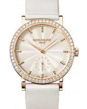 Patek Philippe 7120R-001 Calatrava Ladies 31mm Cream Guillouche Diamond Bezel Rose Gold Leather Manual BRAND NEW