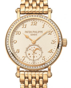 Patek Philippe 7121/1J-001 Complications Ladies Moon Phase 33mm Silver Arabic Diamond Bezel Yellow Gold Manual BRAND NEW