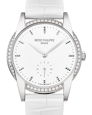Patek Philippe 7122-200G-001 Ladies Calatrava 33mm White Hobnail Index Diamond Bezel White Gold Leather BRAND NEW