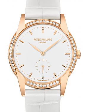 Patek Philippe 7122-200R-001 Ladies Calatrava 33mm White Hobnail Index Diamond Bezel Rose Gold Leather BRAND NEW
