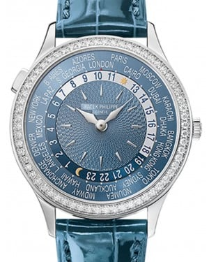 Patek Philippe Grand Complications Ladies Gray-Blue Dial Diamond Bezel White Gold Leather 36mm 7130G-014 - BRAND NEW