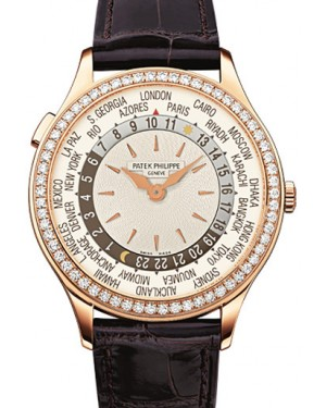 Patek Philippe 7130R-001 Complications Ladies World Time 36mm Ivory Guilloche Diamond Bezel Rose Gold Automatic BRAND NEW