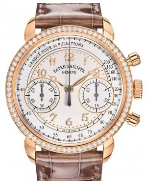 Patek Philippe Complications 7150/250R-001 Silver Opaline Arabic Diamond Bezel Rose Gold Leather 38mm - BRAND NEW