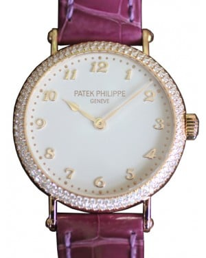 Patek Philippe 7200-200R-001 Ladies Calatrava 34.6mm Silver Satin Arabic Diamond Bezel Rose Gold Leather BRAND NEW