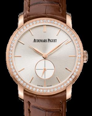 Audemars Piguet 77239OR.ZZ.A088CR.01 Jules Audemars Small Seconds 33mm Silver Index Diamond Bezel Rose Gold Leather BRAND NEW