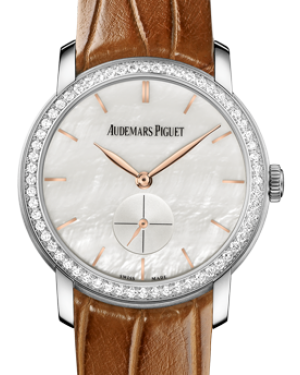 Audemars Piguet 77240BC.ZZ.A808CR.01 Jules Audemars Small Seconds 33mm White Mother of Pearl Index Diamond Bezel White Gold Leather BRAND NEW