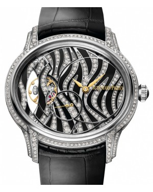 Audemars Piguet 77249BC.ZZ.A102CR.01 Millenary Hand-Wound 39.5mm Diamond Paved 'Zebra' Pattern  White Gold Leather BRAND NEW