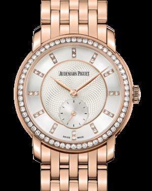 Audemars Piguet 77251OR.ZZ.1270OR.01 Jules Audemars Small Seconds 33mm Silver Guilloche Index Diamond Set Rose Gold BRAND NEW