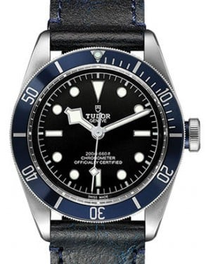 Tudor Heritage Black Bay Black Index Stainless Steel Leather Blue Bezel 41mm 79230B - BRAND NEW