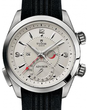 Tudor Heritage Advisor 79620T Silver Arabic & Index Titanium & Stainless Steel Black Rubber 42mm BRAND NEW