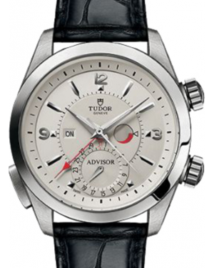 Tudor Heritage Advisor 79620T Silver Arabic & Index Titanium & Stainless Steel Leather Bracelet 42mm BRAND NEW