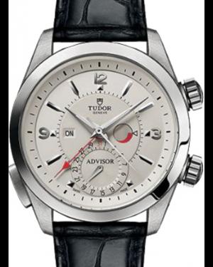 Tudor Heritage Advisor 79620T Silver Arabic & Index Titanium & Stainless Steel Leather Bracelet 42mm BRAND NEW
