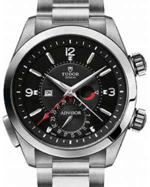 Tudor Heritage Advisor 79620TN Black Arabic & Index Titanium & Stainless Steel Leather Bracelet 42mm BRAND NEW